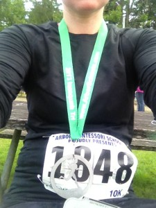 My first 10k! Check out my sweet medal.