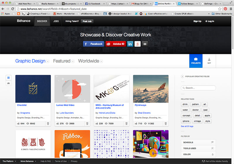 Main page view, by thumbnails
